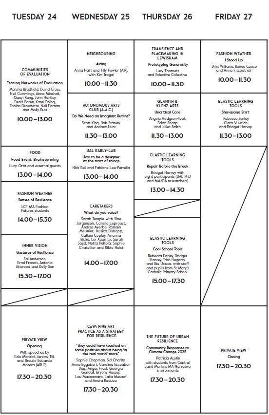 CoR timetable