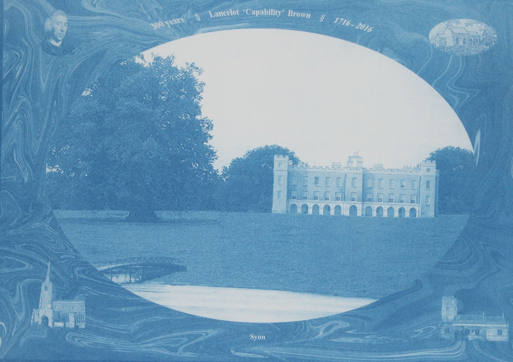 Imperial size cyanoprint from a laser print of a digital collage of Lancelot 'Capability' Brown's edited work at Syon House in west London, framed by iconic images of Brown and the churches at which he was baptised, married and buried, to mark the tercentenary of Brown's birth in 1716. Painted digitally by Alasdair Saunders with assistance from Camberwell staff at the digital print and photographic facilities.